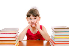 Little Girl with the Books Royalty Free Stock Images