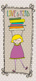 Little girl with books Royalty Free Stock Images