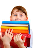 Little Girl with the Books Royalty Free Stock Photography
