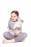 Little girl with a border collie Royalty Free Stock Images
