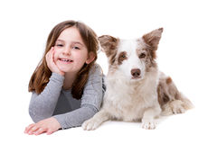 Little girl with a border collie Stock Photography