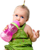 Little girl with the bottle of water Stock Images