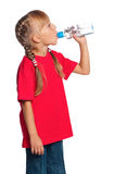 Little girl with bottle of water royalty free stock photos