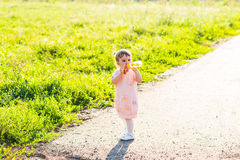 Little girl with bottle of water Royalty Free Stock Images