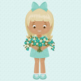 Little girl with bouquet of forget-me-nots Stock Photo