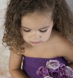 Little girl with bouquet of purple flowers stock photo