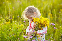 Little girl with a bouquet of wildflowers Royalty Free Stock Photography