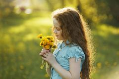Little girl with bouquet of yellow dandelions. Royalty Free Stock Photography
