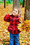 Little girl with a bouquet of yellow maple leaves Stock Photo