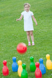 Little girl bowling Stock Image