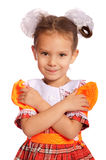 Little girl with bows in hair. Isolated on white background royalty free stock photo