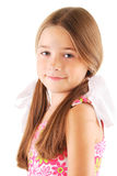 Little girl with bows on white background Royalty Free Stock Image