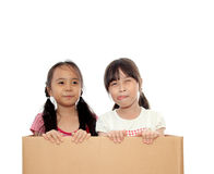 Little girl in the box Royalty Free Stock Image