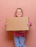 Little girl with box Royalty Free Stock Photos