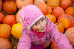 Little girl in box with pumpkins Stock Image