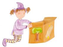 Little girl with box sorceress, magic, magician hat Royalty Free Stock Photos
