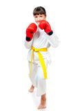 Little girl in boxing gloves royalty free stock image