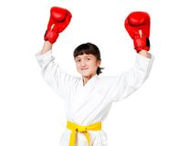 Little girl in boxing gloves stock photos