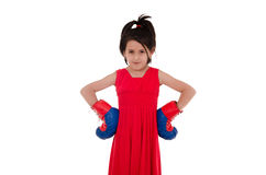 Little girl with boxing gloves Stock Photos