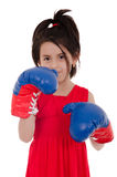 Little girl with boxing gloves Royalty Free Stock Photos