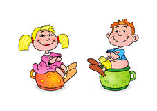 Little girl and boy Stock Image
