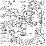 Little girl and boy. Black-and-white illustration (coloring page) with characters of a folk tale: little girl and her brother running away along a forest path Royalty Free Stock Images