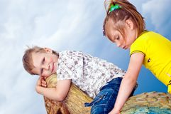 Little girl and boy Royalty Free Stock Photo