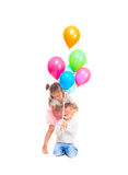 Little girl and boy. Playing with balloons Royalty Free Stock Photos