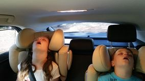 Little girl and boy asleep in the car. Cute little brother and sister sleeping in car seats during a long and tiring vacation trip Stock Image