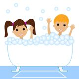 A little girl and boy bath in bath with foam Royalty Free Stock Images