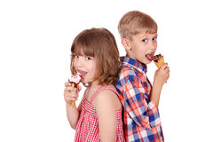 Little girl and boy eating ice cream Royalty Free Stock Photos