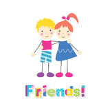 Little girl and boy holding arms around each other with friends typography. Little red haired girl in a blue dress and blonde boy in pink and blue outfit holding royalty free illustration