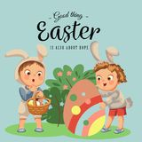 Little girl or boy hunting big decorative chocolate egg in easter bunny costume with ears and tail, vector illustration. Spring holiday fun isolated on white Royalty Free Stock Photo