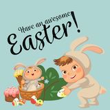 Little girl or boy hunting decorative chocolate egg, happy baby sit in a basket, easter bunny costume with ears and tail. Vector illustration, spring holiday Stock Photos