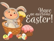 Little girl or boy hunting decorative chocolate egg, happy baby sit in a basket, easter bunny costume with ears and tail. Vector illustration, spring holiday Royalty Free Stock Image