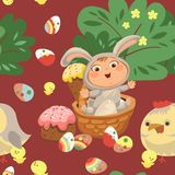Seamless pattern girl or boy hunting decorative chocolate egg, happy baby sit in a basket, easter bunny costume with. Little girl or boy hunting decorative Royalty Free Stock Image