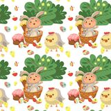 Seamless pattern girl or boy hunting decorative chocolate egg, happy baby sit in a basket, easter bunny costume with. Little girl or boy hunting decorative Royalty Free Stock Photos