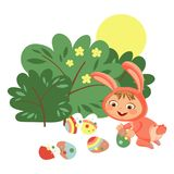 Little girl or boy hunting decorative chocolate egg under brush in easter bunny costume with ears and tail, vector. Illustration, spring holiday fun isolated on Stock Photography