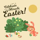 Little girl or boy hunting decorative chocolate egg under brush in easter bunny costume with ears and tail, vector. Illustration, spring holiday fun isolated on Stock Image