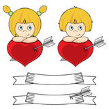 Little girl and boy in love. Valentine cupid concept, love and feelings Stock Images