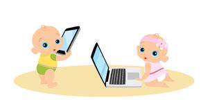 Little girl and boy are playing with laptop and Royalty Free Stock Photo