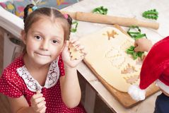Children preparing pastries royalty free stock photography