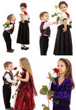 Little girl with boy and rose stock photos