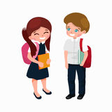 Little girl and boy with school backpack and books, back to school concept Royalty Free Stock Image