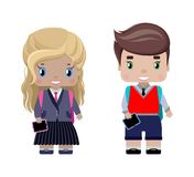 Little girl and boy, in school uniforms. With school backpacks, diary, smiling first graders.in cartoon style Stock Images