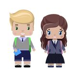 Little girl and boy, in school uniforms. With school backpacks, diary, smiling first graders.in cartoon style Stock Photo