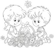 Children with an Easter basket Stock Images