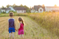 Little girl and boy standind on field with golden sunlight Royalty Free Stock Photos