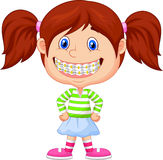 Little girl with brackets stock illustration