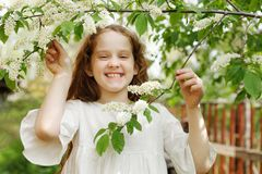 Little girl with a branch blooming tree royalty free stock photography